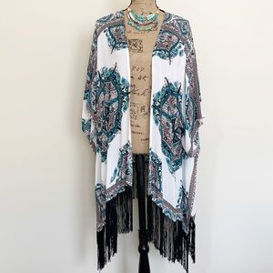 UMGEE white & black fringe kimono cover up